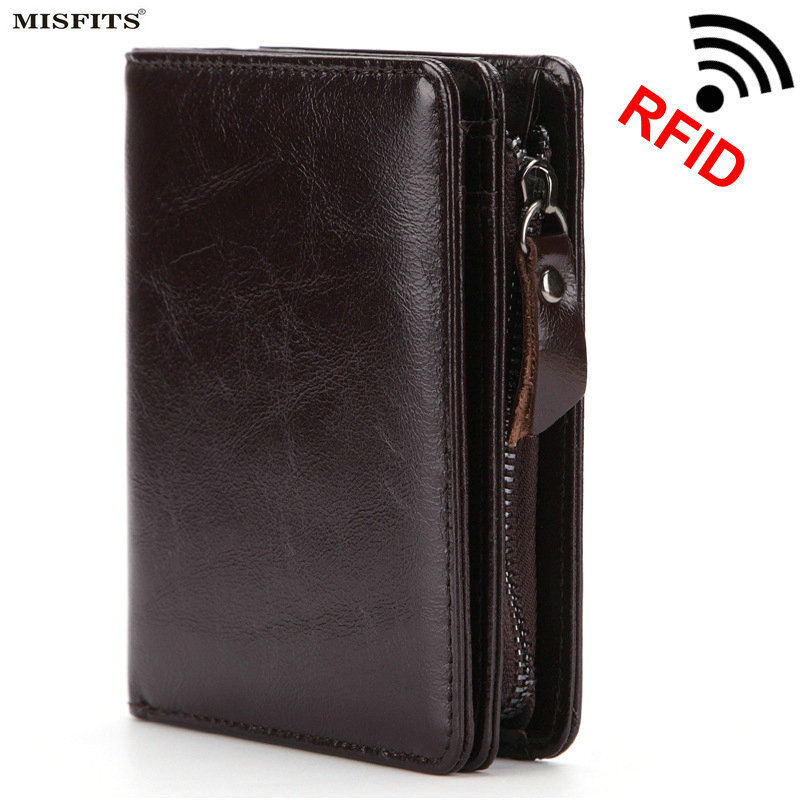New Style RFID Short Men's Wallet Genuine Leather Change Coin Purse Zipper Credit Card Holder Oil Leather Man Male Wallet Small цена 2017