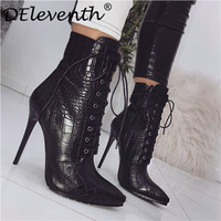 DEleventh Pointed toe stiletto high heels short boots PU leather lace up ankle boots for women thin heel women's boots 42 size