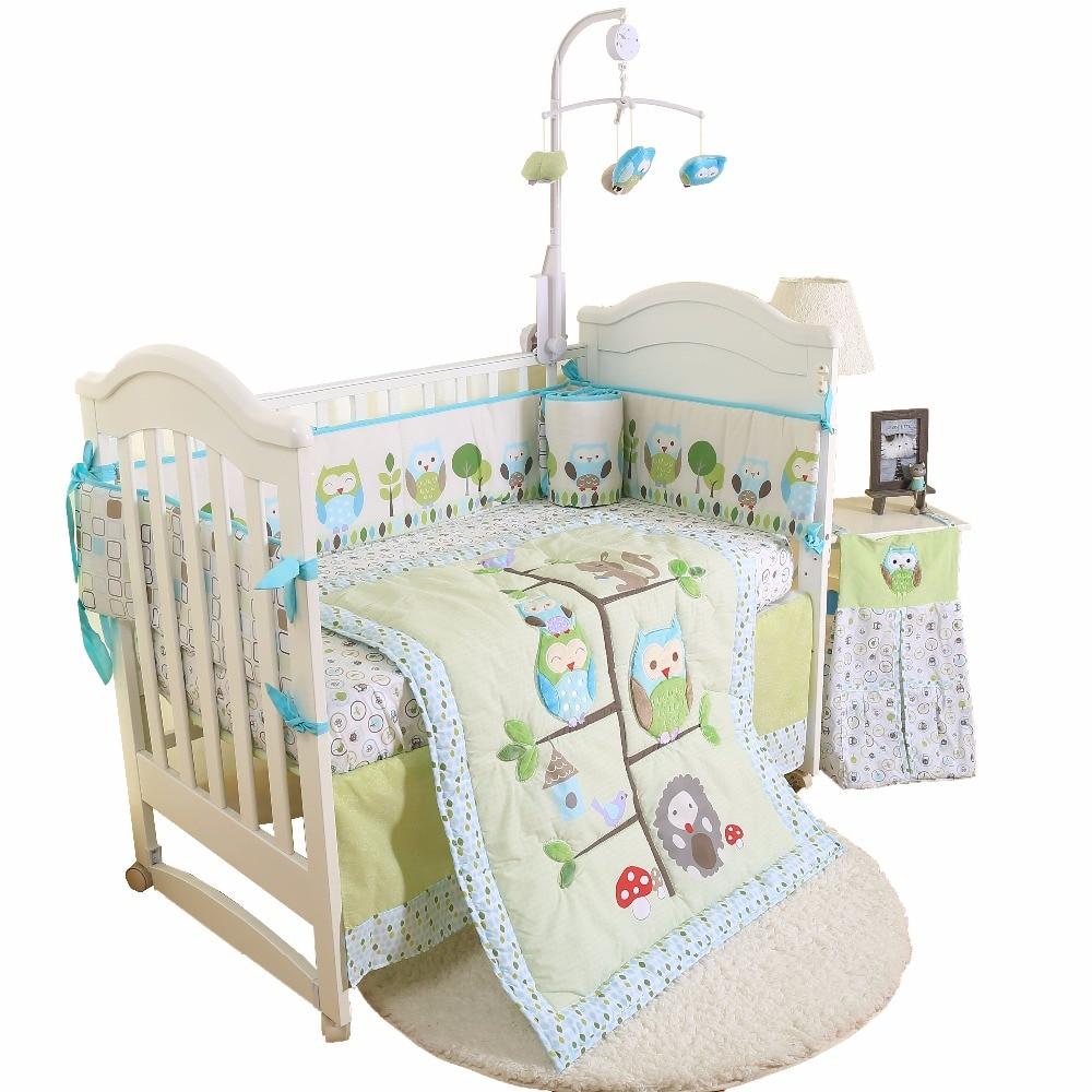 4 pcs new baby bedding set boy crib cartoon animal Quilt Bumper Sheet Skirt