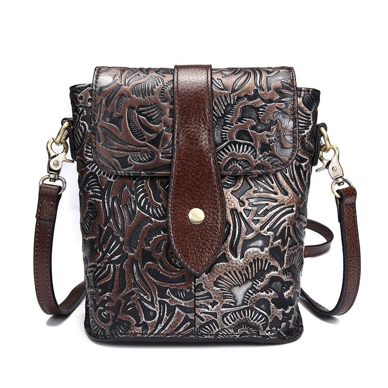 Vintage Distressed Luxury Engraved Genuine Leather Casual Bag Women's Handbag Crossbody Shoulder Bag Messenger Bags For Travel