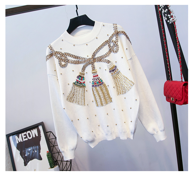 Oshangchaopin À Luxe Survêtements Perles Blanc Ensembles Lanterne Manches Lâche Tricotés Chandails Occasionnel gris Pantalon noir Vêtements D'o cou Lourd De Longues Femmes BIanxwzrqB