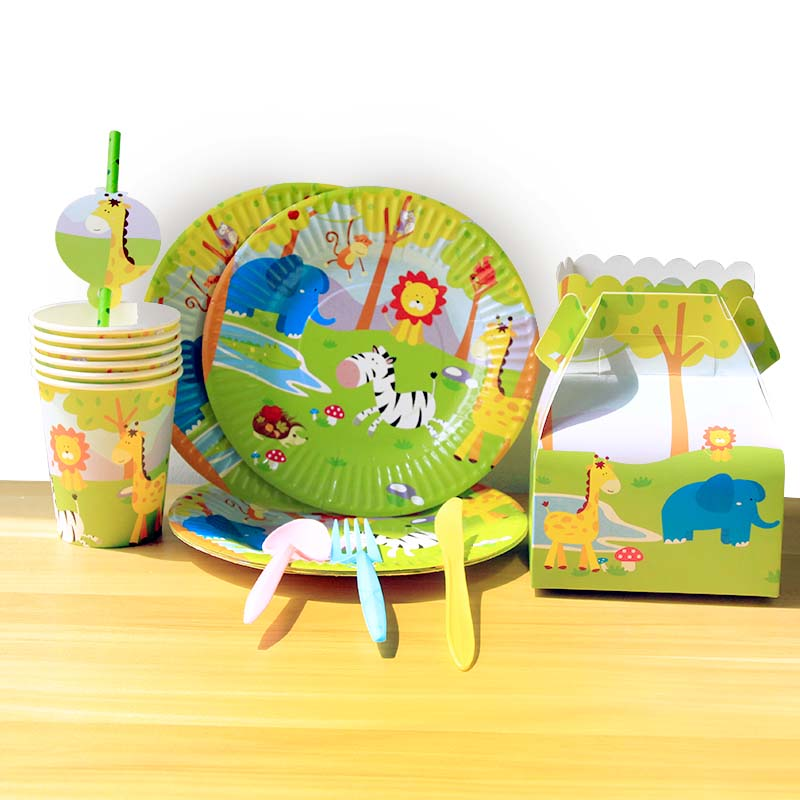 Image 4 - Jungle Party Animal Tableware Green Number Balloons Cupcake Toppers Wild One First Birthday Kids Baby Shower Safari Party Supply-in Party DIY Decorations from Home & Garden