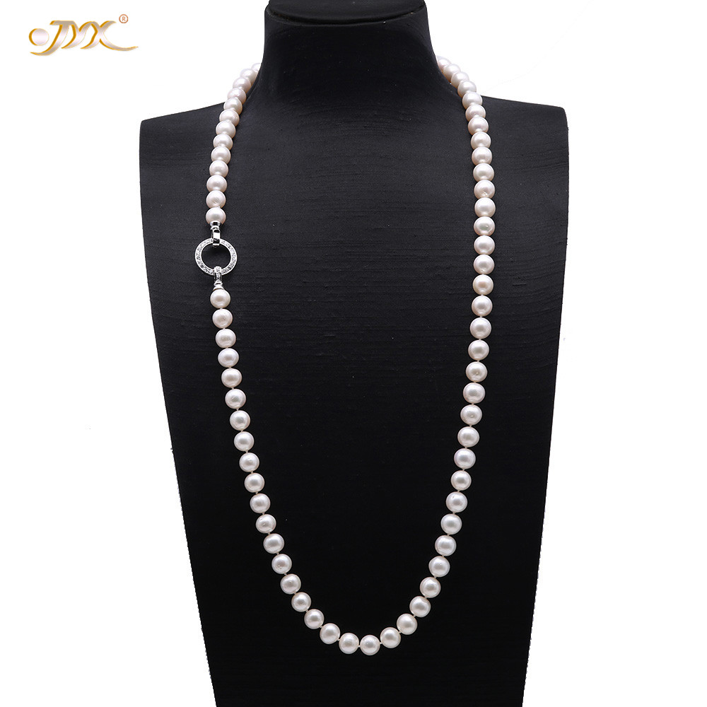 JYX 2019 Pearl Necklace 10.5-11mm White Round Freshwater Cultured Pearl Long Sweater Necklace with a Silver Clasp 36 giftJYX 2019 Pearl Necklace 10.5-11mm White Round Freshwater Cultured Pearl Long Sweater Necklace with a Silver Clasp 36 gift