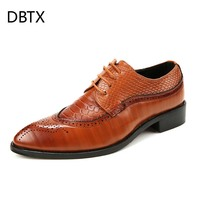 DBTX Mens Dress Shoes Leather Pointed Toe Bullock Oxfords Formal Nice Shoe For Man Italian Designer Luxury male Wedding Shoes630