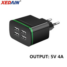 XEDAIN Mobile Phone Charger EU Plug Max 5V 4A Universal Wall Travel Adapter with 4 USB Ports For iPhone Samsung Xmi iPad