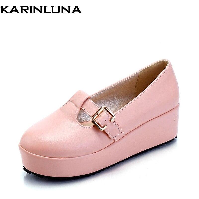 Plus size 30-43 cute candy color girl women platform shoes woman t-straps buckle style spring autumn flats