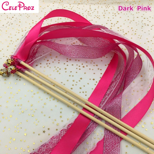 Dark Hot Pink Wedding Glitter Ribbon Wands Lace Fairy Sticks With Bells Birthday Photo Props Party Supply