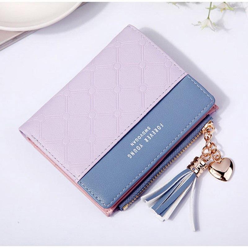 Leather Small Wallet Women Mini Women Wallets Purses Female Short Coin Zipper Purse Holder Tassel Zipper Button Bag (4)