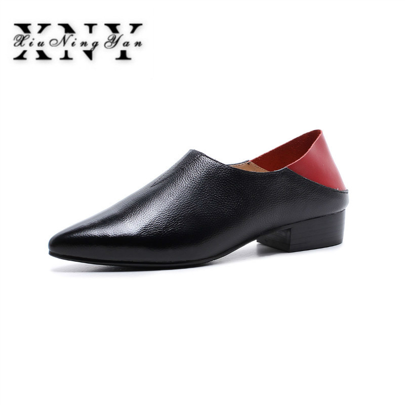 XIUNINGYAN Genuine Leather Shoes Woman 2019 New Slip On Flat Pointed Toe  Fashion New Loafers Shoe Comfortable Female Flats Shoes 6528dd6fac80