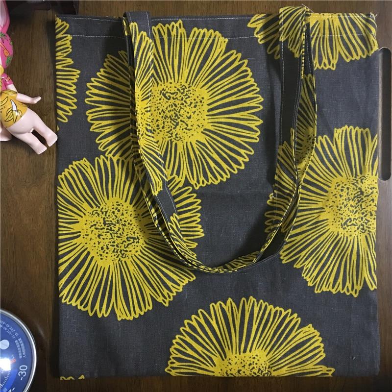 YILE Handmade Cotton Linen Eco Shopping Tote Shoulder Bag Print Yellow Sunflower Brown Base 1759-2