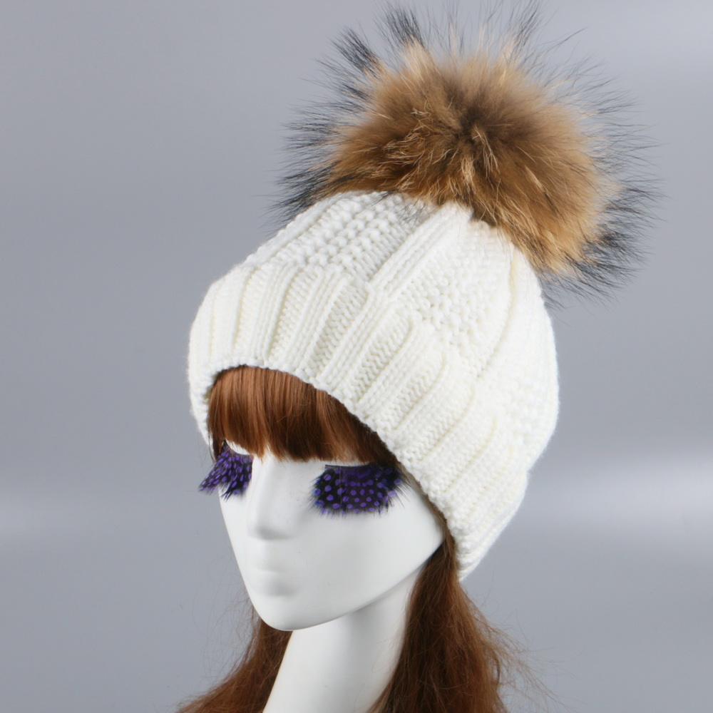 women fashion winter hat cap real mink fox real pom beanies thick thermal warm striped knitted hats girl luxury gorros skullies mink skullies beanies hats knitted hat women 5pcs lot 2299
