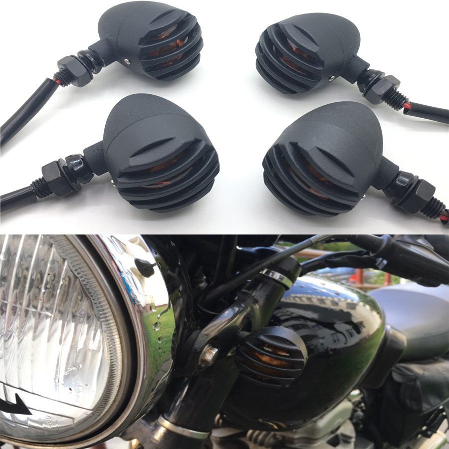 Yecnecty 4 X Motorcycle Turn Signal Indicator Light For Harley Davidson Cafe RacerBullet Steel Motorbike Flashers For Cruiser