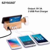 2 in 1 Mobile Phone Holder 3 USB Charger Storage Universal Wood Charging Dock Stand Fast Charging For Watch 4 3 For iPhone 6 7