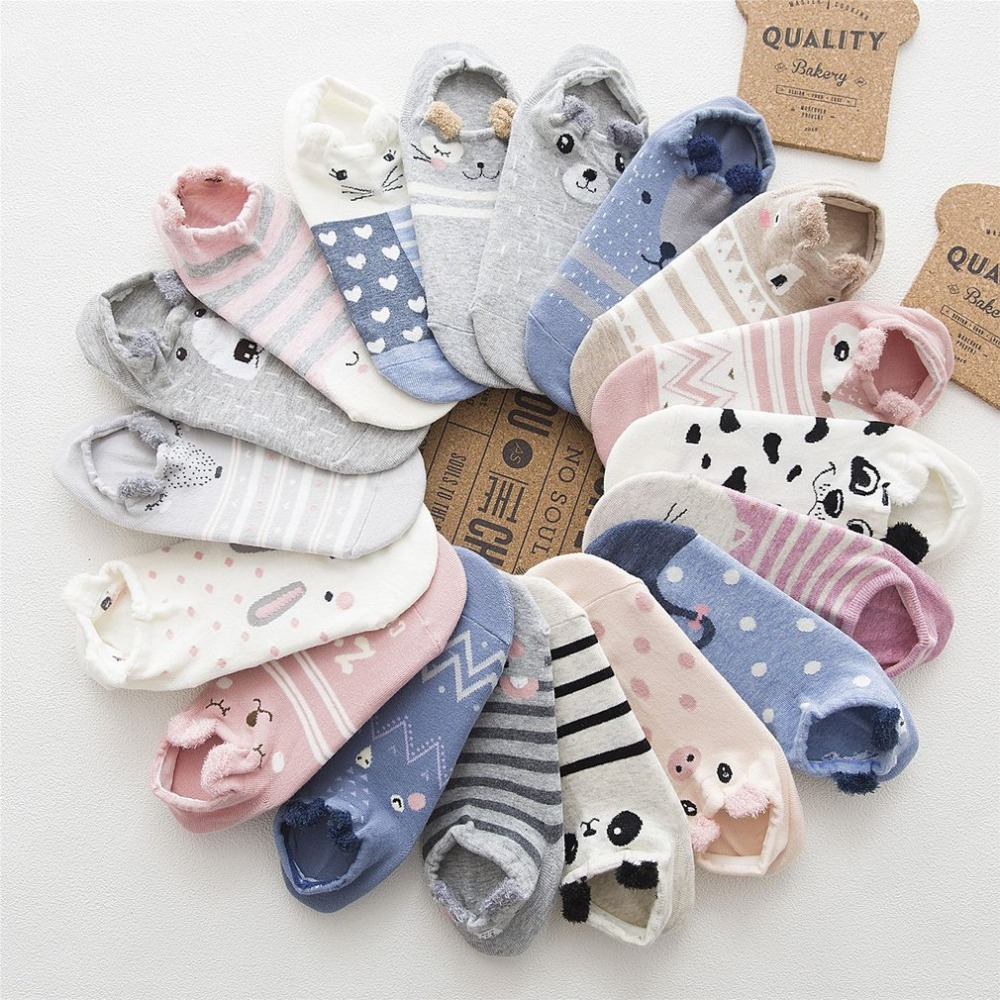 Cute Women Socks With Ear Puppy Cat Pattern Floor Socks Cotton Blends Female Girls Ankel Low Floor Socks Meias Mulheres