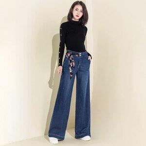 Image 5 - Women Denim High Waist Jeans Wide Leg Pants Vintage Baggy Pants Casual Loose Full Length Pants Drawstring Palazzo Retro Trousers
