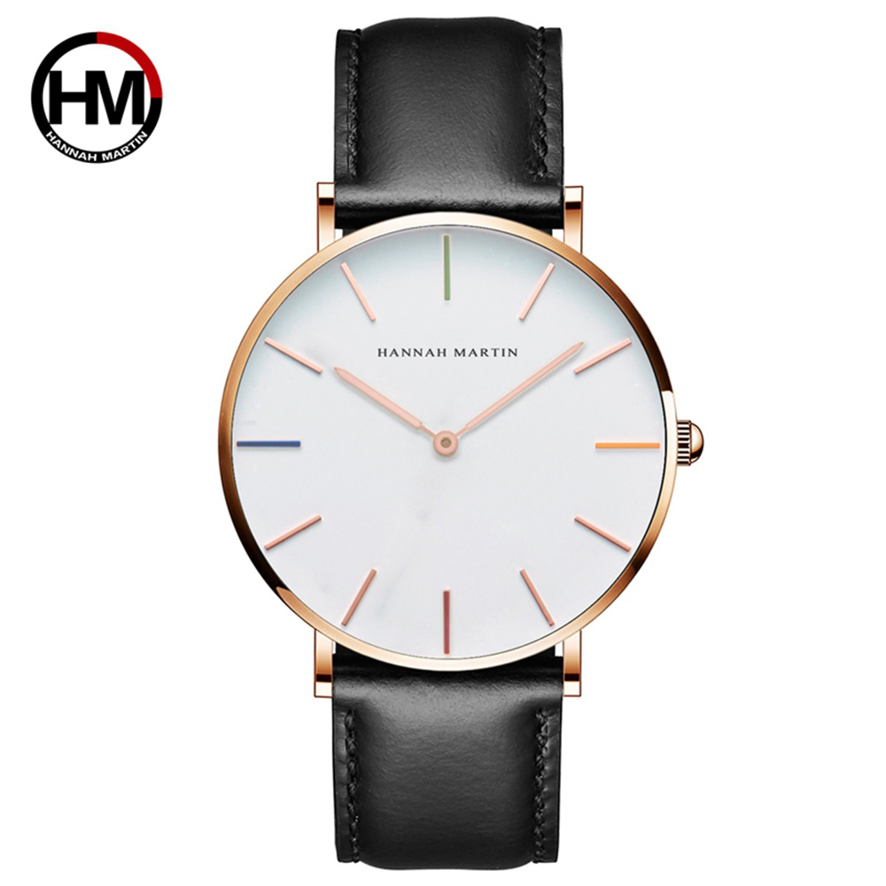 HM 2019 Man Quartz Analog Watch Top Brand Luxury Faux Leather Classical Luxury Dress Wristwatch Big Dial Military Clock Relojes