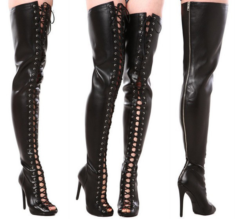 Lace-up New Fashion Women Open Toe Black Leather Over Knee Gladiator Boots Sexy Slim Style Cut-out High Heel Long Boots black cut out lace details cold shoulder long sleeves top