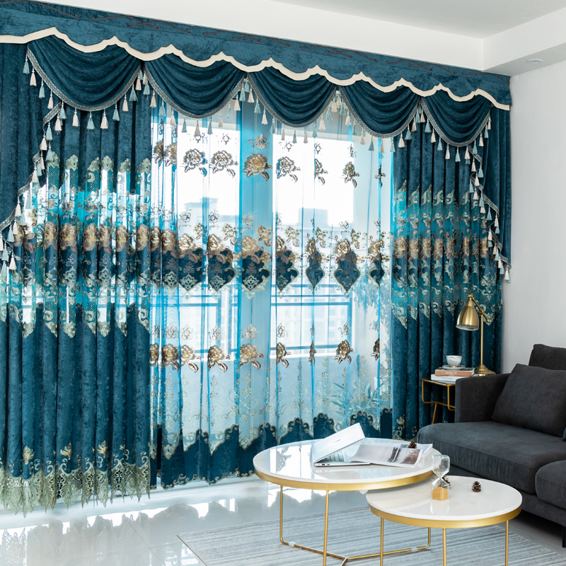 European Velvet Embroidery Chenille Bedroom Curtains For Living Room Modern Tulle Window Curtain Valance Decorate