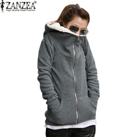ZANZEA סווטשירט עם ברדס מעיל צמר 2017 נשים החורף חם כותנה רוכסן עד מוצרי הלבשה תחתונה Slim מעיל קפוצ 'ונים בתוספת גודל