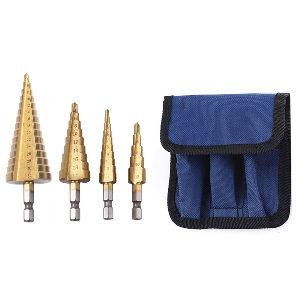 4Pcs/Set  Hss Step Cone Taper Drill Bit Set Hole Cutter Metric 4-12/20/32mm 1/4