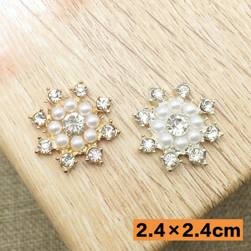 30Pcs Fashion Pearl Rhinestone Button Flatback Buttons Wedding Dress Decoration Accessories Embellishments Crafts Free Shipping