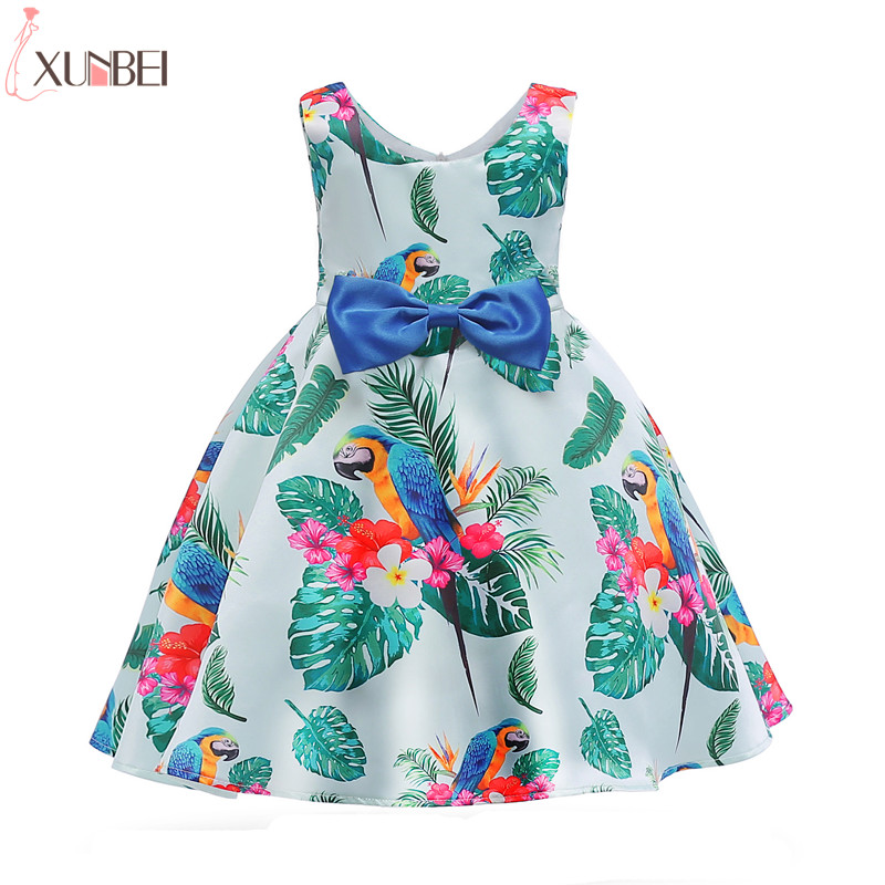 Lovely Parrot Leaf Print   Flower     Girl     Dresses   2019 Ball Gown Cutton Kids Evening Gowns Pageant   Dresses   robe enfant fille mariage