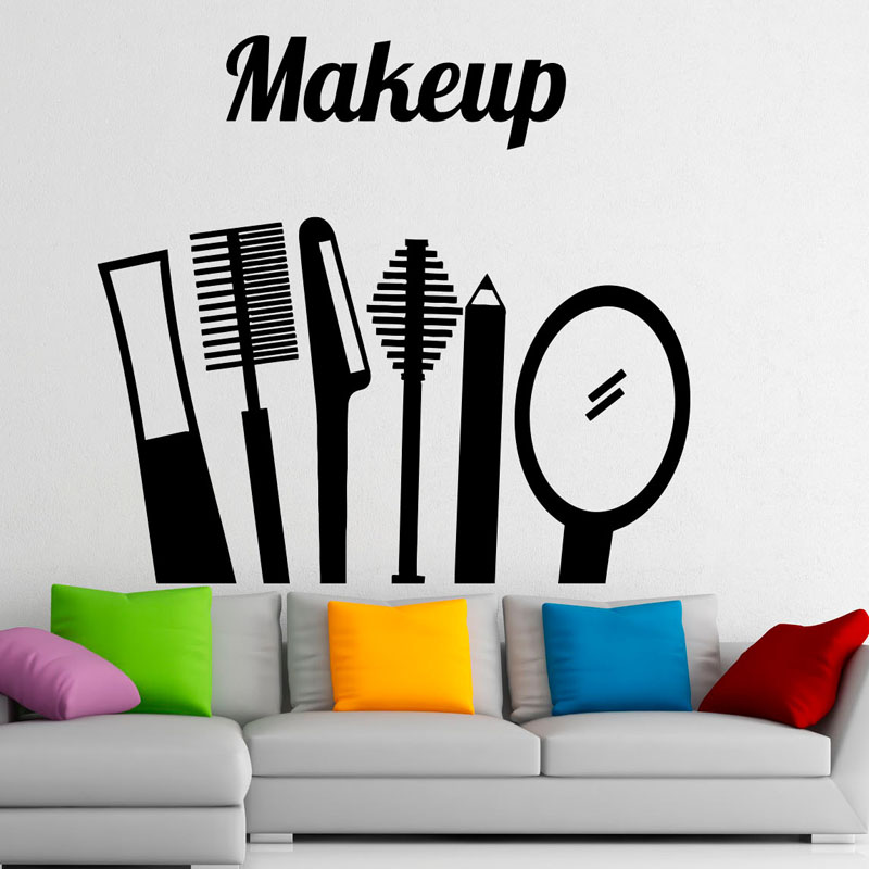 Make Up Beauty Salon Tools Wall Decals Vinyl Fashion Design Girls Bedroom Home Decor Dorm Room