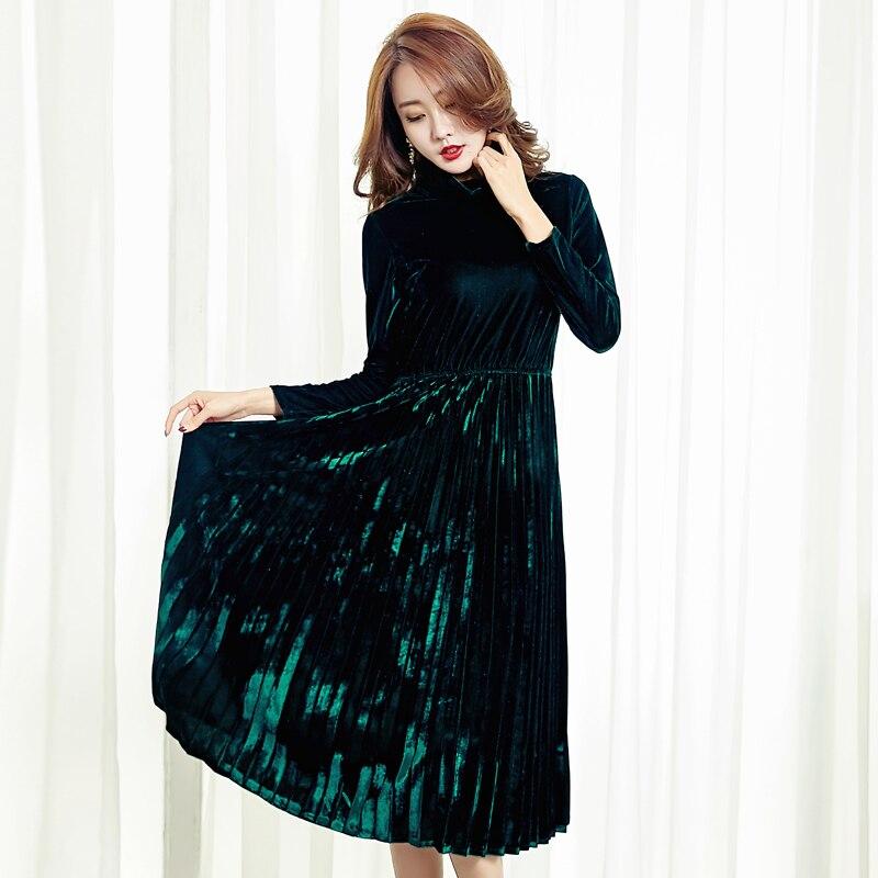 New 2017 Autumn Winter Gold Velvet Party Events Dress Female Velours Vintage Turtlenck High Waist Pleated Dress