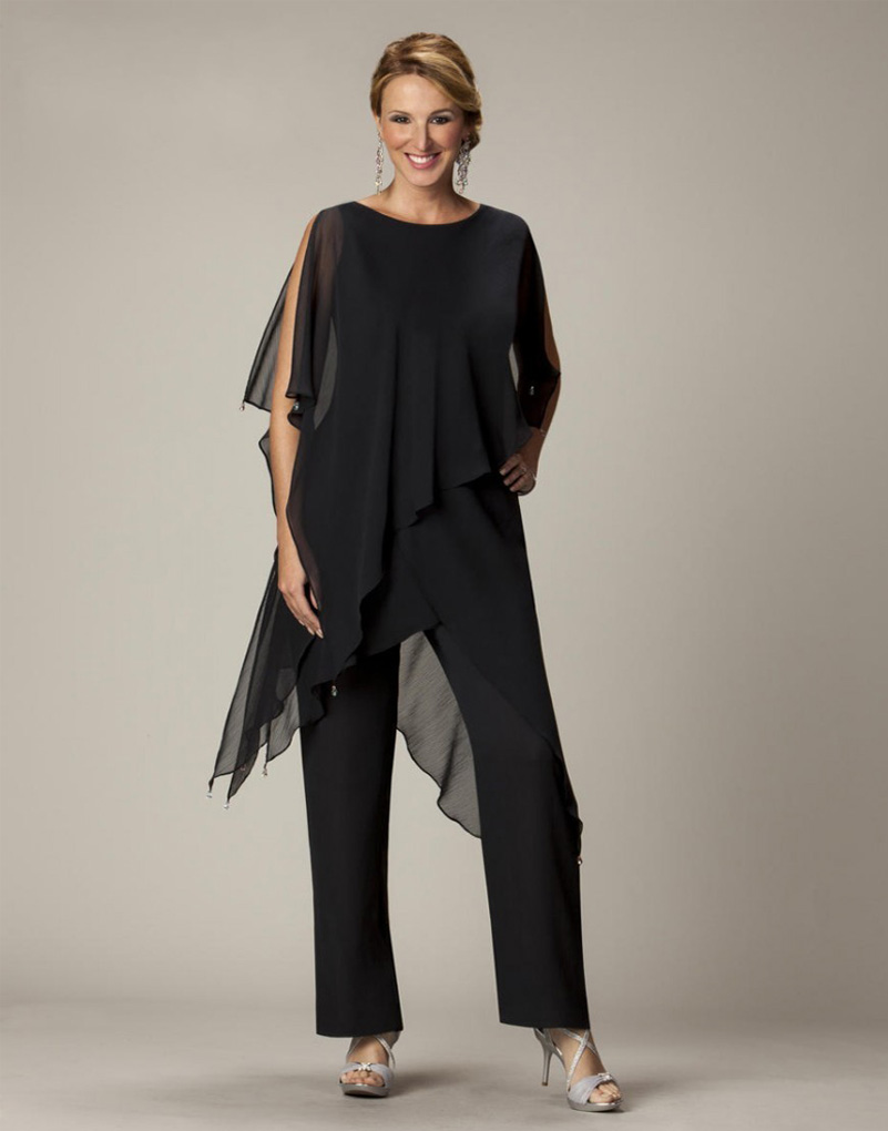 Black Chiffon Mother Of The Bride Pant Suit Bride Goom ...