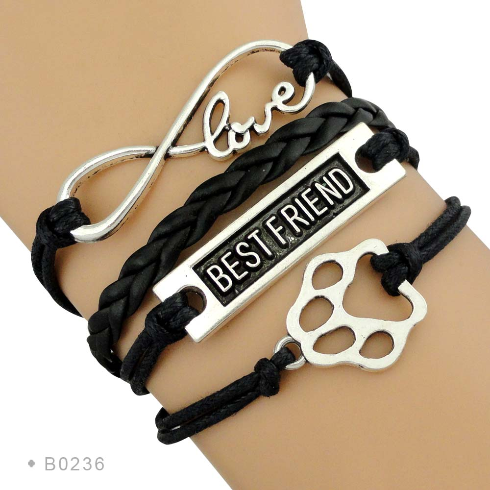 Hot Sale Silver Dog Charm Infinity Love Leather Wrap Braid Doggie Dog Person Lover Paw Print Dog Mom Bracelets for Women