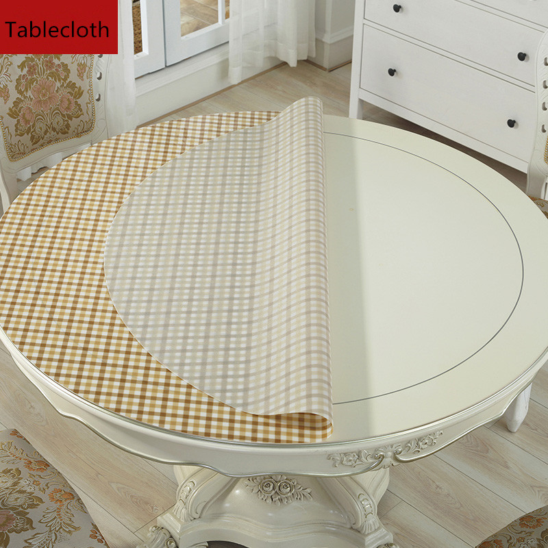 Round dining table cloth pvc waterproof Round table mat Thicken soft glass crystal plate plastic tablecloths coffee table cover