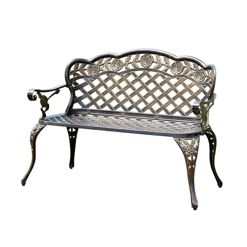 Park outdoor leisure cast aluminum garden long bench chair terrace garden lover seat chair balcony double seat long chair