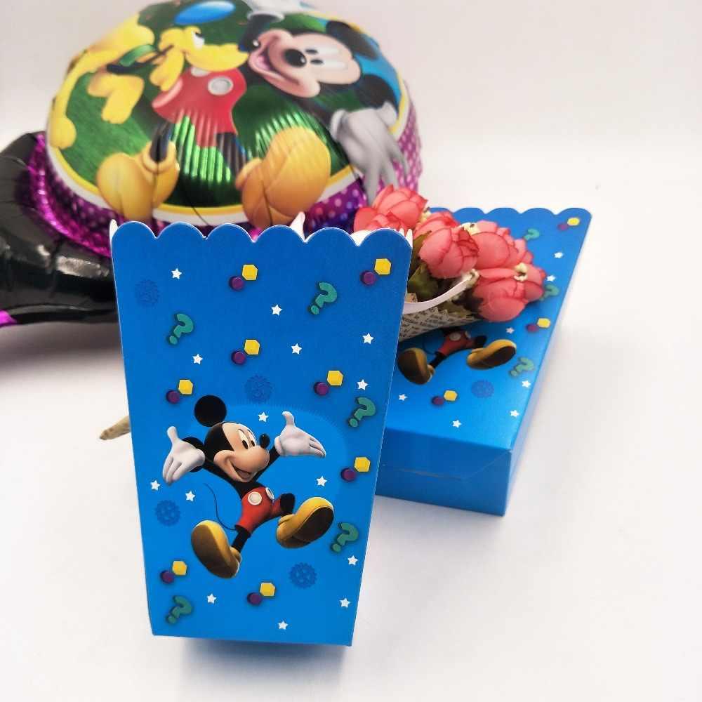 6 ชิ้น/เซ็ตเด็ก Mickey Mouse วันเกิด PARTY PopCorn BOX ของขวัญกล่องโปรดปรานอุปกรณ์เสริมวันเกิดตกแต่ง 1
