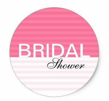 15inch modern bridal shower stickers pink stripes classic round sticker