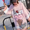 Pink Sequins Ice Cream Knit Sweater 2017 Women Beading Ball Street Pullover Clothing Autumn Clothing LT395