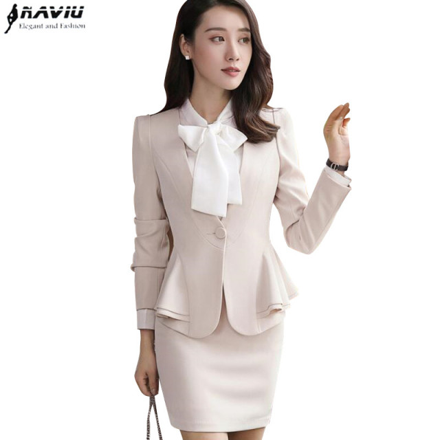 New Autumn Winter Women Skirt Suits Set Elegant Business Formal Long