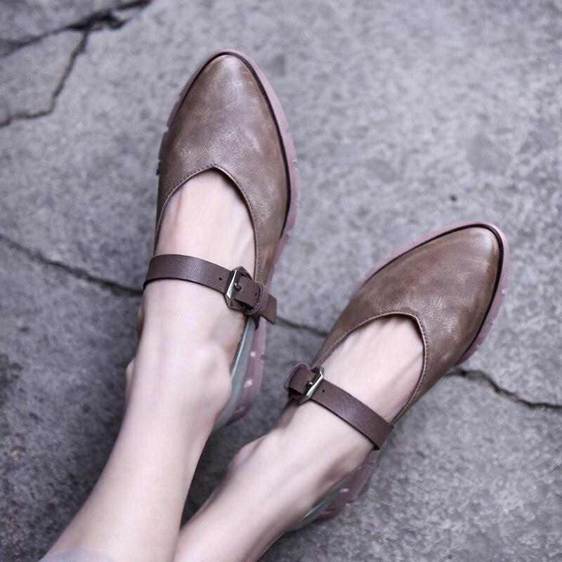 Artmu Cuir Bout De 6808 Nouveaux Boucle Main À En Green Pointu gray 3 Chaussures La Rétro 2019 Beige Véritable D'origine Loisirs Plat Printemps Femmes A7Z0qxrwA