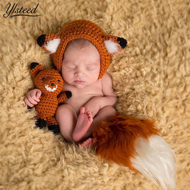 Newborn photo props knitted baby hat cute animal fox ears hats fox doll set for photo
