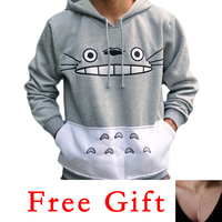Korean Harajuku Totoro Cartoon Print Women Sudadera Hoodies Autumn Winter Long Sleeve Pullover Hooded Sweatshirt