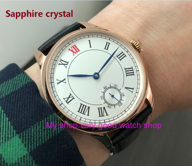 Sapphire crystal 44mm parnis Asian 6498 17 jewels Mechanical Hand Wind movement Rose gold case Mechanical watches pa80-p8Sapphire crystal 44mm parnis Asian 6498 17 jewels Mechanical Hand Wind movement Rose gold case Mechanical watches pa80-p8
