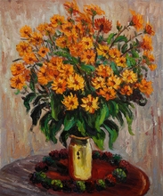 Vase of Chrysanthemums by Claude Monet Handpainted