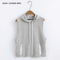 XUANCHURANWEN Summer Cotton Sleeveless Tshirt Women Hooded T Shirt Grey Top Women XZ1219