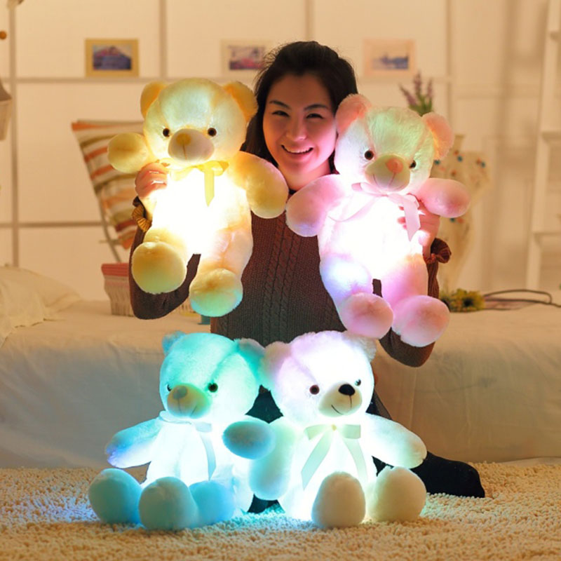 50cm Flashing Plush Toy Stuffed Led Light Teddy Bear Kid Toy Cute Luminous Colorful Baby Doll Best Gift For Children And Friends 12pcs lot 18cm twelve constellation relax bear plush toy stuffed doll car pendant teddy bear gift for girls and children
