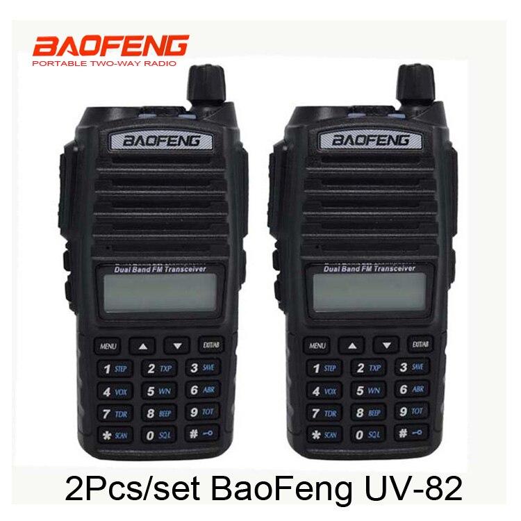 2pcs/set Hot walkie talkie UV 82 baofeng 1 pair Portable Radio Baofeng UV-82 With Earphone CB Ham Radio Vhf Uhf Dual UV82 radio