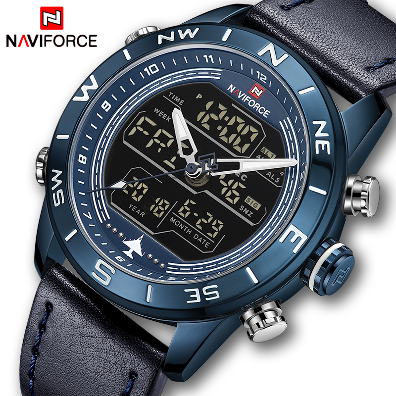 2019 Mens Watches Top Brand NAVIFORCE Men Fashion Sport Watch Male Waterproof Quartz Digital Led Clock Mens Military Wristwatch