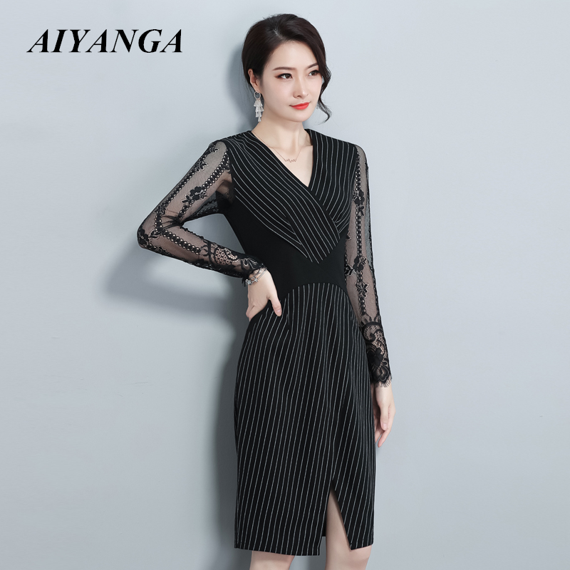 <font><b>Women</b></font> <font><b>2018</b></font> <font><b>Autumn</b></font> Winter <font><b>Sexy</b></font> <font><b>Ladies</b></font> Striped <font><b>Bodycon</b></font> <font><b>Dress</b></font> <font><b>V</b></font> <font><b>Neck</b></font> Lace Sleeve OL Pencil Bandage Package Hip Vestidos Plus Size image