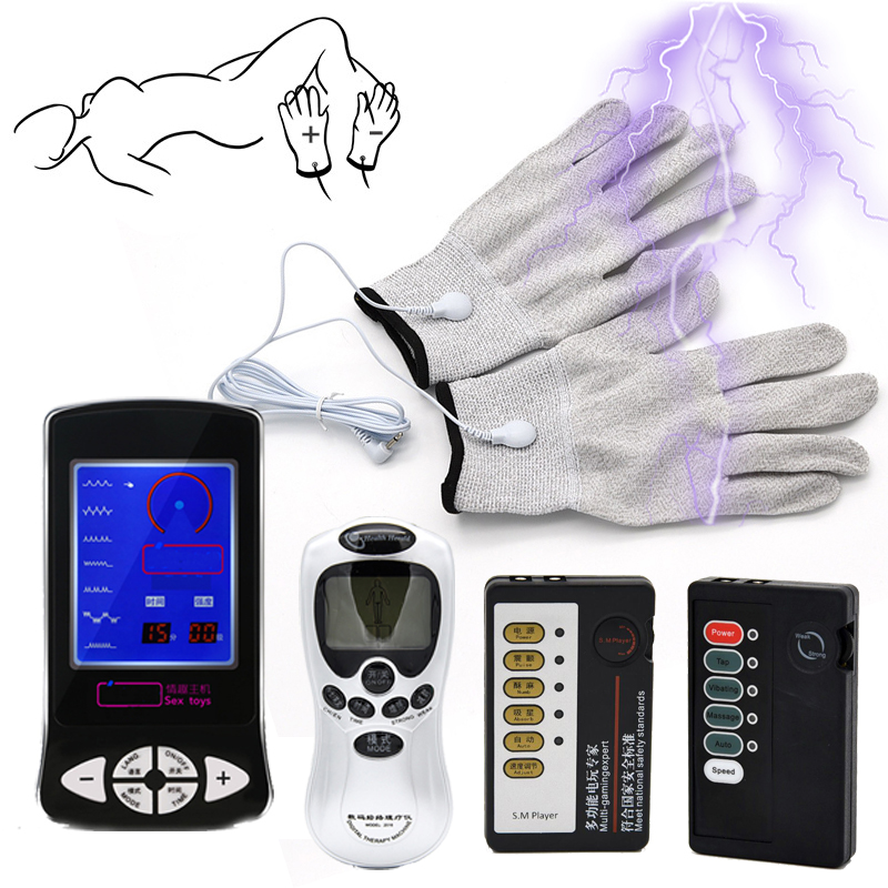 Electric Shock Slut Numb Gloves Electro Shock Body Massage <font><b>Hand</b></font> Touch Orgasm Stimulation Glove Masturbator <font><b>Sex</b></font> <font><b>Toys</b></font> <font><b>Adult</b></font> Games image