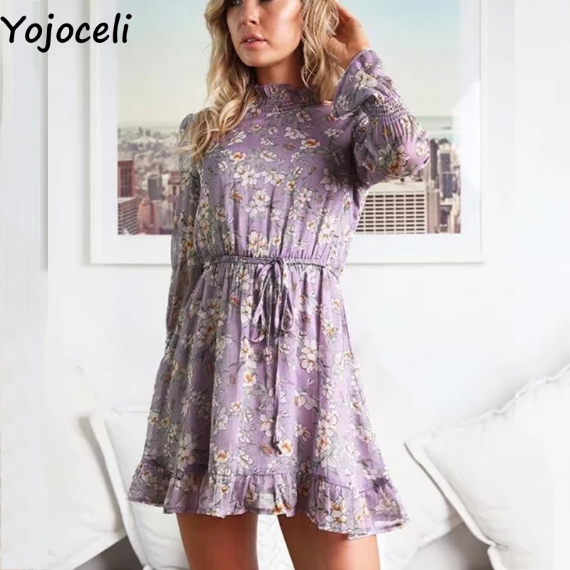 Cuerly Floral print ruffle short dress women Autumn elegant party chiffon dress Casual daily smock dress vestidos female in Dresses from Women 39 s Clothing