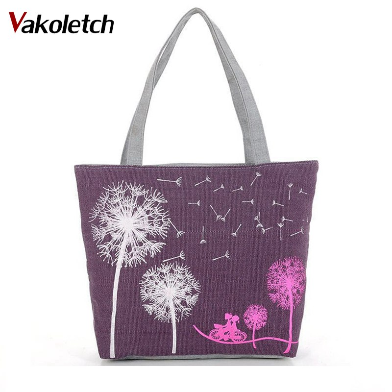 Canvas Women Casual Tote Designer Lady Large Bag Fashion dandelion Handbags Bolsas shopping bag New Women's Shoulder Bags M7-353 aosbos fashion portable insulated canvas lunch bag thermal food picnic lunch bags for women kids men cooler lunch box bag tote