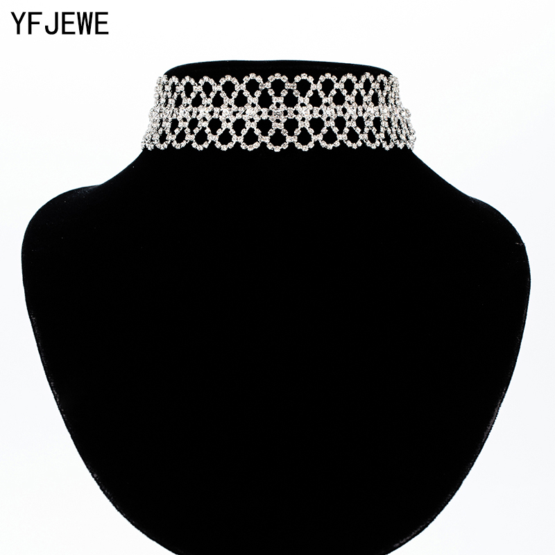 YFJEWE Women Double Flower Line Clavicle Necklace Luxury Crystal Choker Necklace Rhinestone Pendant Jewelry Collar Necklace N363